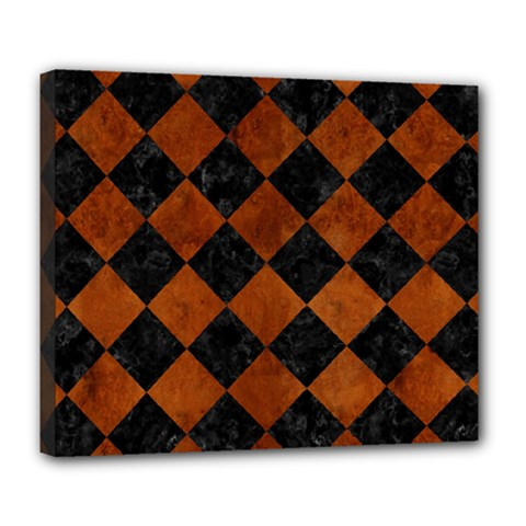 Square2 Black Marble & Brown Burl Wood Deluxe Canvas 24  X 20  (stretched)