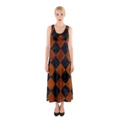 Square2 Black Marble & Brown Burl Wood Sleeveless Maxi Dress by trendistuff