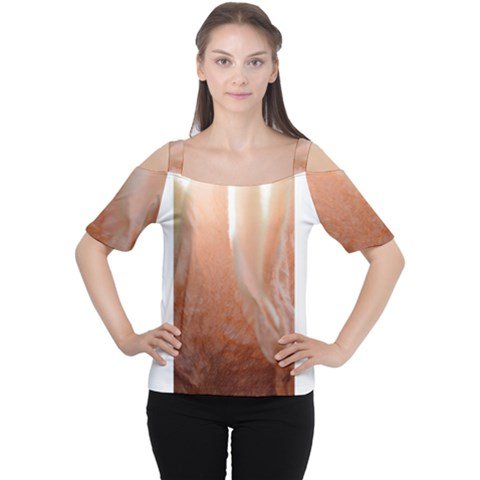 Floating Subdued Peach Women s Cutout Shoulder Tee by timelessartoncanvas