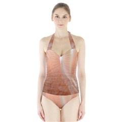 Floating Subdued Peach Women s Halter One Piece Swimsuit by timelessartoncanvas