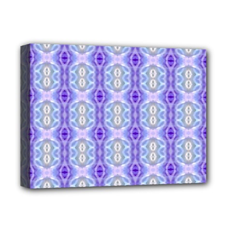 Light Blue Purple White Girly Pattern Deluxe Canvas 16  X 12   by Costasonlineshop