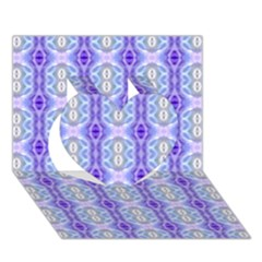 Light Blue Purple White Girly Pattern Heart 3d Greeting Card (7x5)  by Costasonlineshop