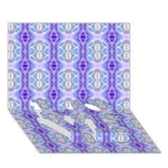 Light Blue Purple White Girly Pattern Love Bottom 3d Greeting Card (7x5)  by Costasonlineshop