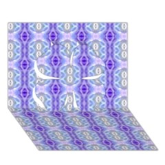 Light Blue Purple White Girly Pattern Clover 3d Greeting Card (7x5)  by Costasonlineshop