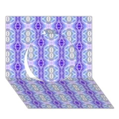Light Blue Purple White Girly Pattern Circle 3d Greeting Card (7x5)