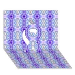 Light Blue Purple White Girly Pattern Ribbon 3d Greeting Card (7x5)  by Costasonlineshop