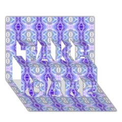 Light Blue Purple White Girly Pattern Take Care 3d Greeting Card (7x5)  by Costasonlineshop