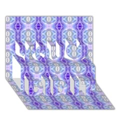 Light Blue Purple White Girly Pattern You Did It 3d Greeting Card (7x5) by Costasonlineshop