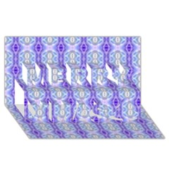 Light Blue Purple White Girly Pattern Merry Xmas 3d Greeting Card (8x4)