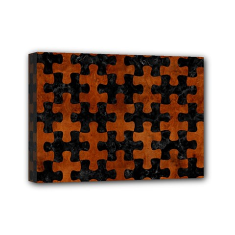 Puzzle1 Black Marble & Brown Burl Wood Mini Canvas 7  X 5  (stretched) by trendistuff