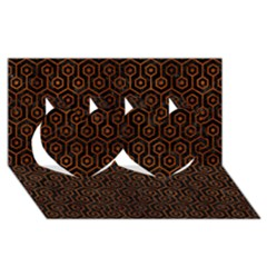 Hexagon1 Black Marble & Brown Burl Wood Twin Hearts 3d Greeting Card (8x4)