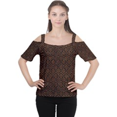 Hexagon1 Black Marble & Brown Burl Wood Cutout Shoulder Tee by trendistuff