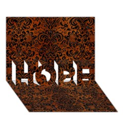 Damask2 Black Marble & Brown Burl Wood (r) Hope 3d Greeting Card (7x5) by trendistuff