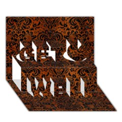 Damask2 Black Marble & Brown Burl Wood (r) Get Well 3d Greeting Card (7x5) by trendistuff