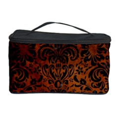 Damask2 Black Marble & Brown Burl Wood (r) Cosmetic Storage Case by trendistuff
