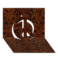 Damask2 Black Marble & Brown Burl Wood Peace Sign 3d Greeting Card (7x5) by trendistuff