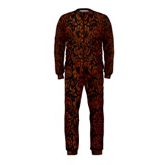Damask2 Black Marble & Brown Burl Wood Onepiece Jumpsuit (kids) by trendistuff