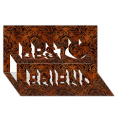Damask1 Black Marble & Brown Burl Wood (r) Best Friends 3d Greeting Card (8x4)