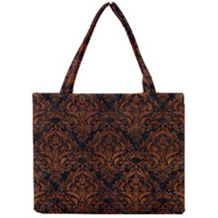 Damask1 Black Marble & Brown Burl Wood Mini Tote Bag by trendistuff