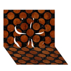 Circles2 Black Marble & Brown Burl Wood Clover 3d Greeting Card (7x5) by trendistuff
