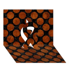 Circles2 Black Marble & Brown Burl Wood Ribbon 3d Greeting Card (7x5)