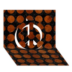 Circles1 Black Marble & Brown Burl Wood Peace Sign 3d Greeting Card (7x5) by trendistuff