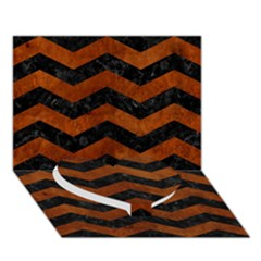 Chevron3 Black Marble & Brown Burl Wood Heart Bottom 3d Greeting Card (7x5) by trendistuff