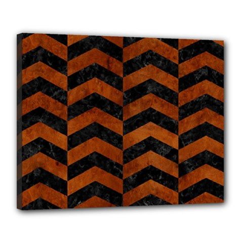 Chevron2 Black Marble & Brown Burl Wood Canvas 20  X 16  (stretched) by trendistuff