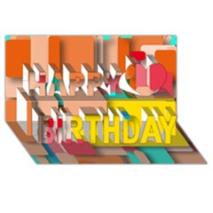 Rounded Rectangles Happy Birthday 3d Greeting Card (8x4)
