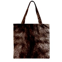 Black And White Silver Tiger Fur Zipper Grocery Tote Bag by timelessartoncanvas