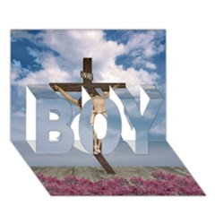 Jesus On The Cross Illustration Boy 3d Greeting Card (7x5)