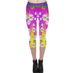 Over And Under The Rainbow Is Love Capri Leggings  by pepitasart