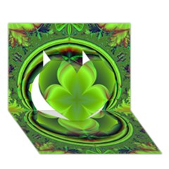 Green Clover Heart 3d Greeting Card (7x5)  by Delasel