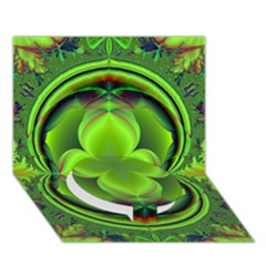 Green Clover Circle Bottom 3d Greeting Card (7x5)  by Delasel