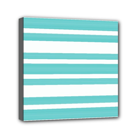 Teal Adn White Stripe Designs Mini Canvas 6  X 6