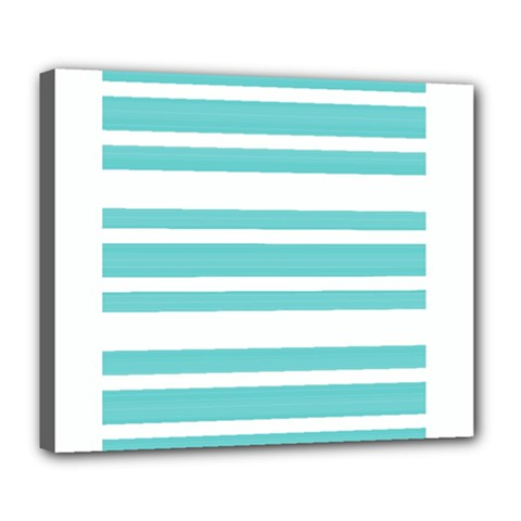 Teal Adn White Stripe Designs Deluxe Canvas 24  X 20   by timelessartoncanvas