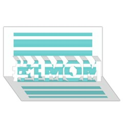 Teal Adn White Stripe Designs #1 Mom 3d Greeting Cards (8x4)  by timelessartoncanvas