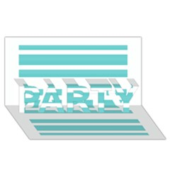 Teal Adn White Stripe Designs Party 3d Greeting Card (8x4)  by timelessartoncanvas