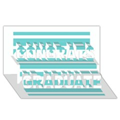 Teal Adn White Stripe Designs Congrats Graduate 3d Greeting Card (8x4)  by timelessartoncanvas