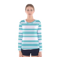 Teal Adn White Stripe Designs Women s Long Sleeve Tee by timelessartoncanvas