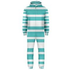 Teal Adn White Stripe Designs Hooded Jumpsuit (men)  by timelessartoncanvas