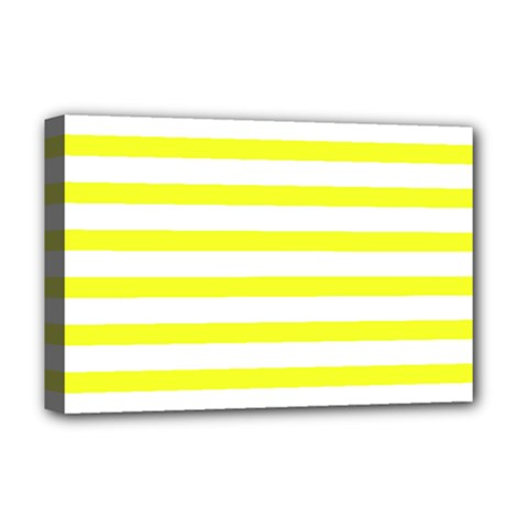 Bright Yellow And White Stripes Deluxe Canvas 18  X 12   by timelessartoncanvas