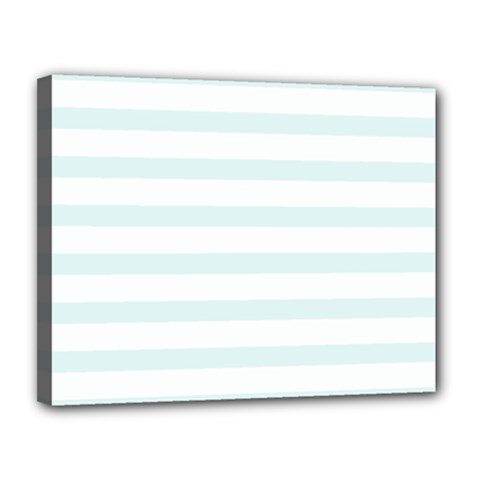 Baby Blue And White Stripes Canvas 14  X 11  by timelessartoncanvas