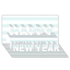 Baby Blue And White Stripes Happy New Year 3d Greeting Card (8x4)  by timelessartoncanvas