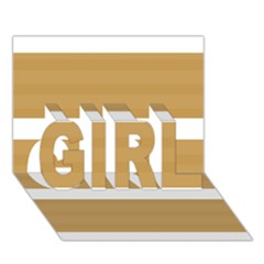 Beige/ Brown And White Stripes Design Girl 3d Greeting Card (7x5)  by timelessartoncanvas