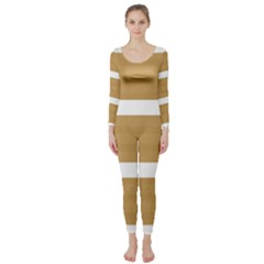 Beige/ Brown And White Stripes Design Long Sleeve Catsuit by timelessartoncanvas