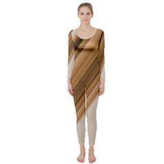 Metallic Brown/neige Stripes Long Sleeve Catsuit by timelessartoncanvas