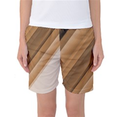 Metallic Brown/neige Stripes Women s Basketball Shorts by timelessartoncanvas