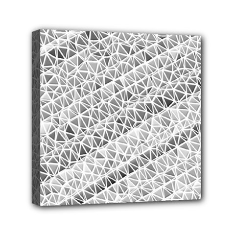 Silver Abstract And Stripes Mini Canvas 6  X 6  by timelessartoncanvas