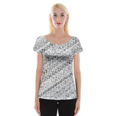 Silver Abstract And Stripes Women s Cap Sleeve Top by timelessartoncanvas